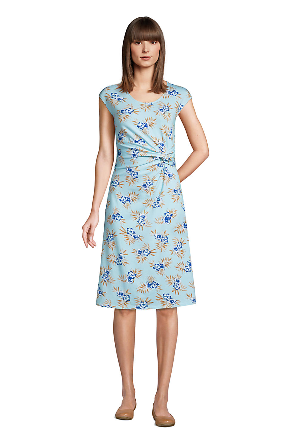 Lands End Womens Cap Sleeve Twist Front Fit and Flare Dress