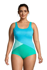 Women's Plus Size Chlorine Resistant Scoop Neck Soft Cup Tugless Sporty One Piece Swimsuit