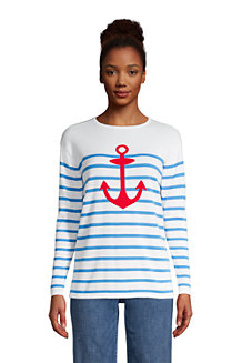 Women's Fine Gauge Cotton Open Crew Neck
