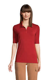 Women's Moisture Wicking UPF Sun Elbow Sleeve Zip Front Polo Shirt