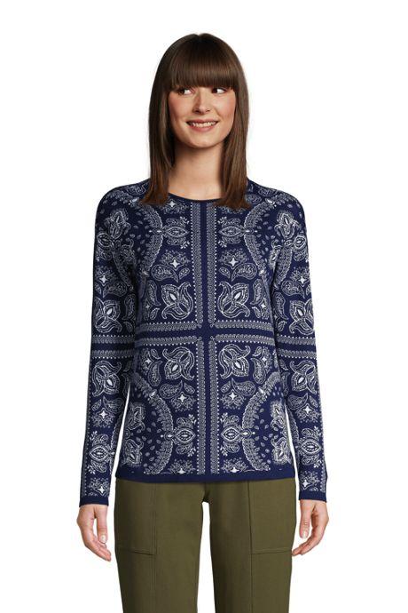 Women's Fine Gauge Cotton Crewneck Sweater - Jacquard