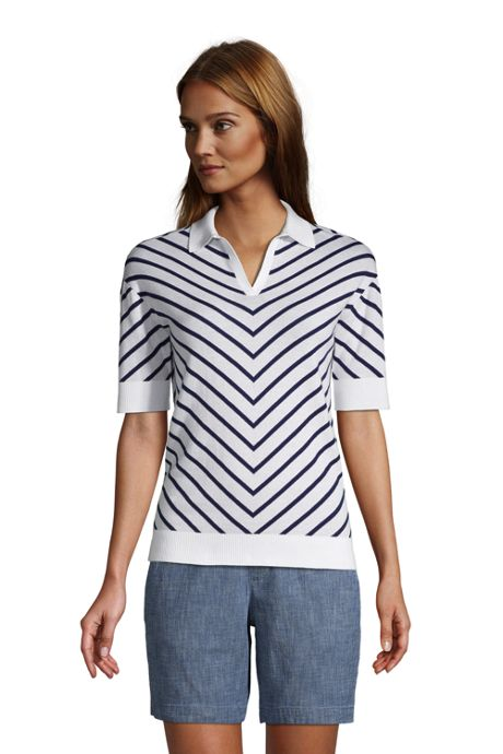 Women's Fine Gauge Cotton Short Sleeve Polo Sweater - Chevron