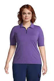 Women's Plus Size Moisture Wicking UPF Sun Elbow Sleeve Zip Front Polo Shirt
