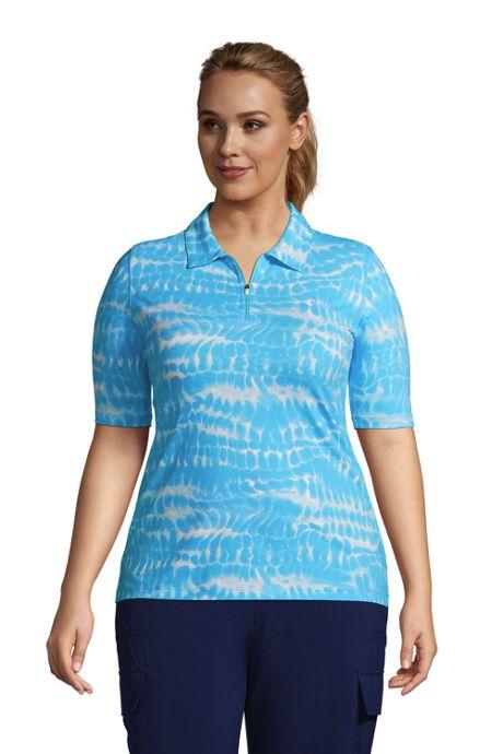 Women's Plus Size Moisture Wicking UPF Sun Elbow Sleeve Zip Front Polo Shirt Print