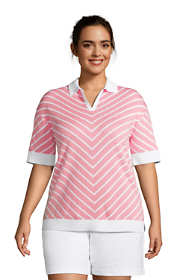 Women's Plus Size Fine Gauge Cotton Short Sleeve Polo Sweater - Chevron
