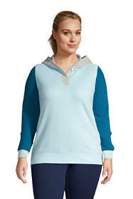 Women's Plus Size Long Sleeve Serious Sweats Button Hoodie