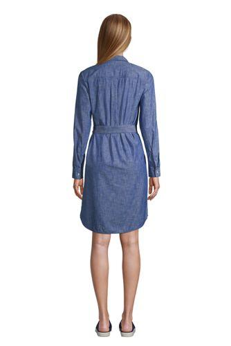 Petite Chambray Button Front Dress, Women's Petite Dresses, Long ...