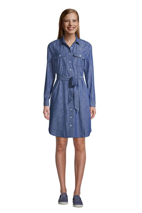 Women's Chambray Button Front Shirt Dress
