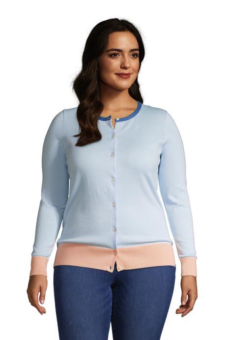 Women's Plus Size Fine Gauge Cotton Cardigan Sweater