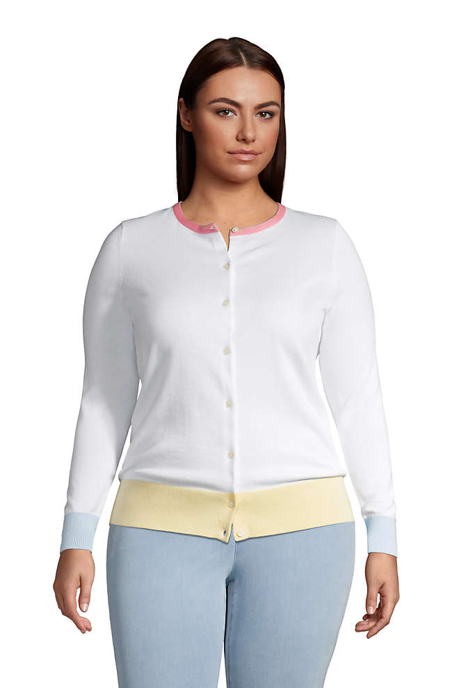 Women's Plus Size Fine Gauge Cotton Cardigan Sweater, Front