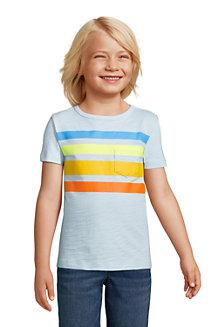 Kurzarm-Shirt mit Slub-Struktur und Streifen für Jungen