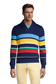 Men's Cotton Stripe Pullover Shawl Sweater