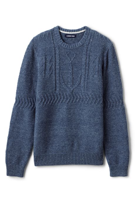 Men's Big and Tall Cotton Texture Anchor Crewneck