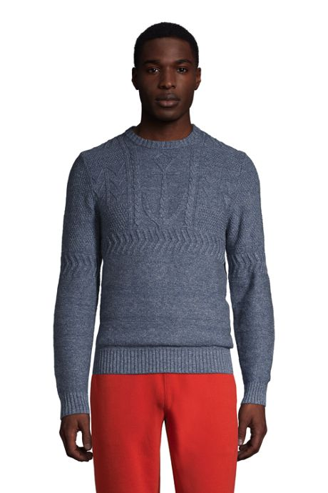 Men's Cotton Texture Anchor Crewneck
