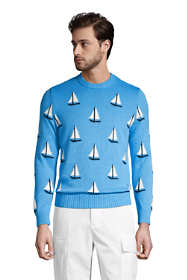 Men's Cotton Sail Boat Crewneck