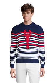 Men's Tall Cotton Lobster Stripe Crewneck