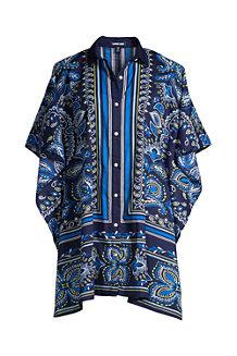 Gemustertes Kaftan-Hemdkleid aus Baumwoll-Popeline für Damen