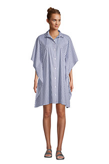 Women's Cotton Poplin Kaftan Cover Up Shirt Dress