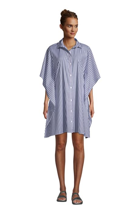 Women's Cotton Poplin Button Down Kaftan Shirt Dress Swim Cover-up