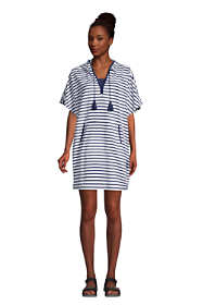 Women's Terry V-neck Short Sleeve Hooded Swim Cover-up Dress with Pocket