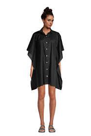 Women's Petite Cotton Poplin Button Down Kaftan Shirt Dress Swim Cover-up