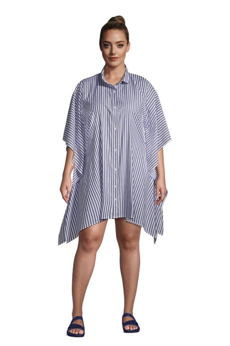 Women's Plus Size Cotton Poplin Button Down Kaftan Shirt Dress Swim Cover-up