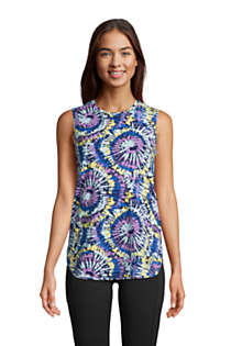 Women's Moisture Wicking UPF Sun Crewneck Tunic Tank Top Print, Front