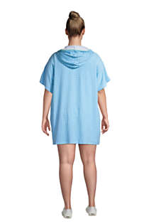 Women's Plus Size Terry V-neck Short Sleeve Hooded Swim Cover-up Dress with Pocket, Back