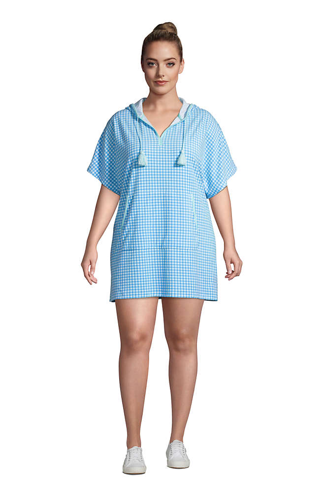 Women's Plus Size Terry V-neck Short Sleeve Hooded Swim Cover-up Dress with Pocket, Front