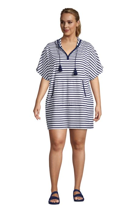 Women's Plus Size Terry V-neck Short Sleeve Hooded Swim Cover-up Dress with Pocket