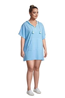 Women's Plus Size Terry V-neck Short Sleeve Hooded Swim Cover-up Dress with Pocket, alternative image