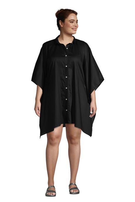 Women's Plus Size Cotton Poplin Button Down Kaftan Shirt Dress Swim Cover-up