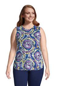 Women's Plus Size Moisture Wicking UPF Sun Crewneck Tunic Tank Top Print