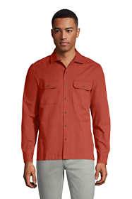 Men's Traditional Fit Textured Camp Collar Long Sleeve Shirt