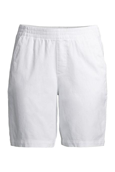 Women's Mid Rise Elastic Waist Pull On 10 inch Chino Bermuda Shorts