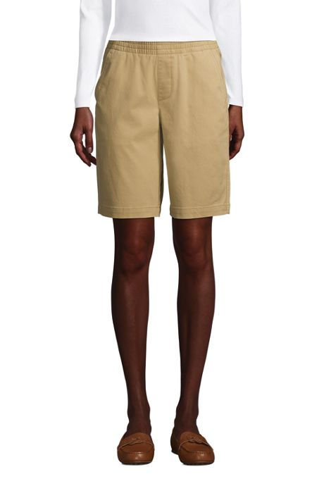 """""""Women's Mid Rise Elastic Waist Pull On 10"""""""" Chino Bermuda Shorts"""""""
