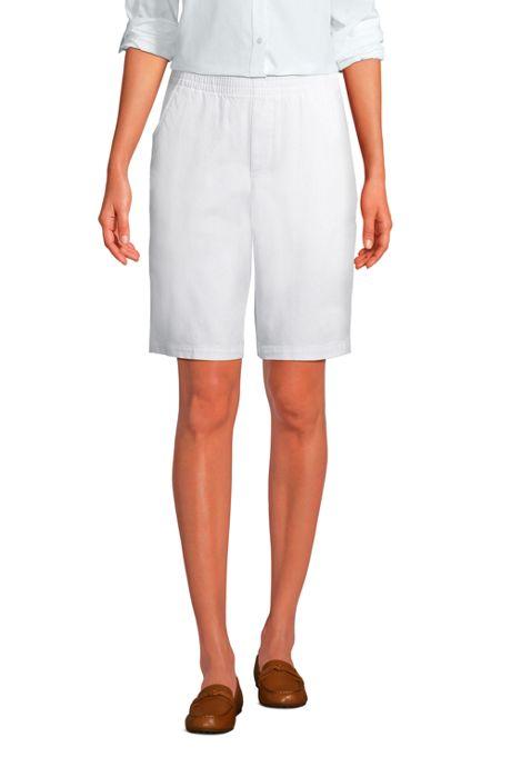 Women's Mid Rise Elastic Waist Pull On 12 inch Chino Bermuda Shorts