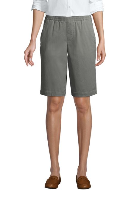 """""""Women's Mid Rise Elastic Waist Pull On 12"""""""" Chino Bermuda Shorts"""""""