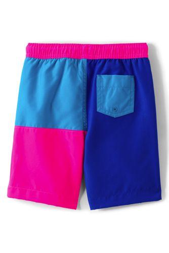 Boys Nautical Color Block Swim Trunks