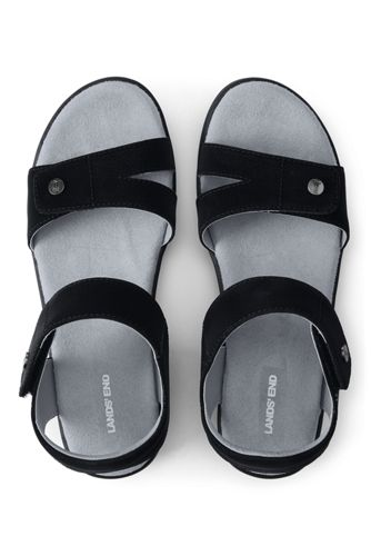 Lands End Women's Leather Comfort Casual Wedge Sandals