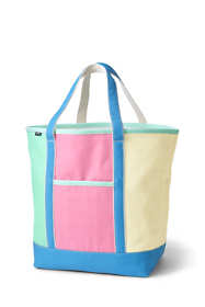 Colorblock Large Open Top Canvas Tote Bag