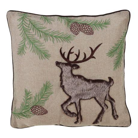 Saro Lifestyle Faux Fur Reindeer Decorative Throw Pillow
