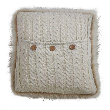 Saro Lifestyle Faux Fur Trim Knit Decorative Throw Pillow