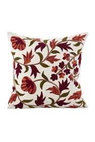 Saro Lifestyle Floral Design Embroidered Decorative Throw Pillow