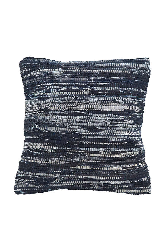Saro Lifestyle Denim Chindi Decorative Throw Pillow, Front