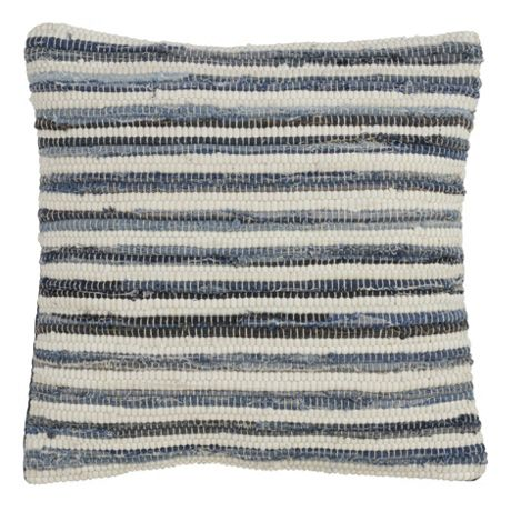 Saro Lifestyle Striped Denim Chindi Decorative Throw Pillow