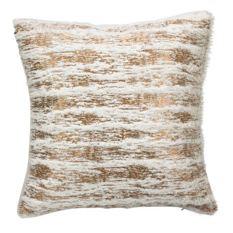 Saro Lifestyle Metallic Faux Fur Decorative Throw Pillow