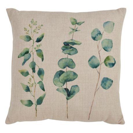 Saro Lifestyle Eucalyptus Print Decorative Throw Pillow