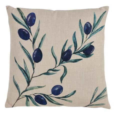 Saro Lifestyle Olive Branch Print Decorative Throw Pillow