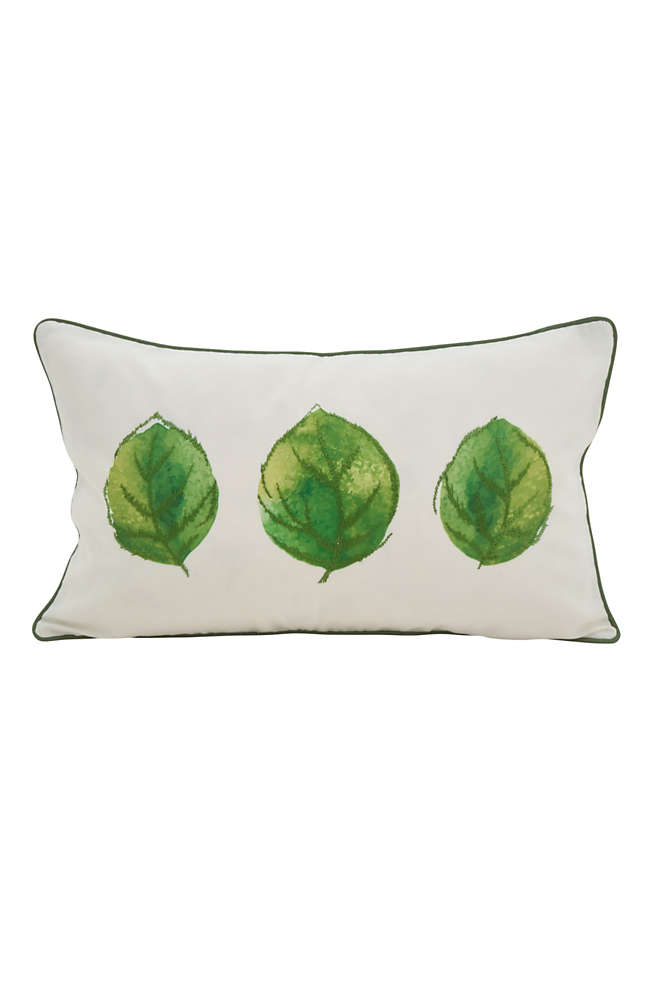 Saro Lifestyle Leaf Print Decorative Throw Pillow, Front
